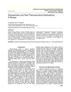 Nanosensors and their Pharmaceutical Applications: A Review
