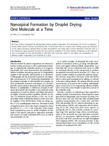 Nanospiral Formation by Droplet Drying: One Molecule ... - Springer Link