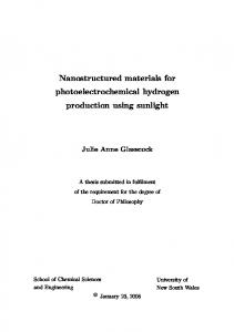 Nanostructured materials for photoelectrochemical ...