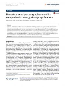 Nanostructured porous graphene and its ... - Nano Convergence