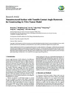 Nanostructured Surface with Tunable Contact Angle Hysteresis for