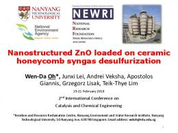 Nanostructured ZnO loaded on ceramic honeycomb
