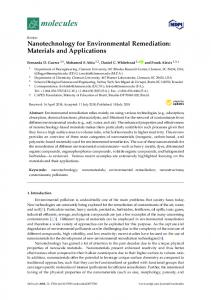 Nanotechnology for Environmental Remediation: Materials and ... - MDPI