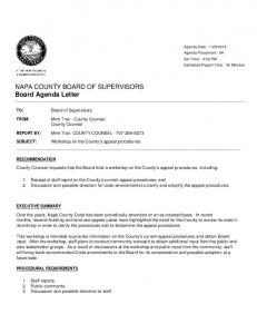 NAPA COUNTY BOARD OF SUPERVISORS Board ... - Services
