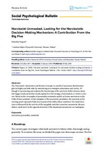 Narcissist Unmasked. Looking for the ... - Clinical Psychology