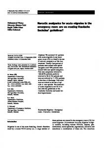 Narcotic analgesics for acute migraine in the ... - Springer Link