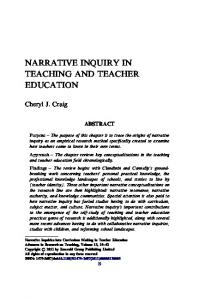 Narrative Inquiry in Teaching and Teacher Education