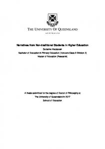 Narratives from Non-traditional Students in Higher ... - UQ eSpace