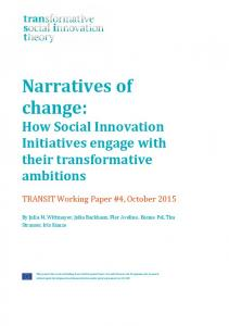 Narratives of change - TRANSIT social innovation