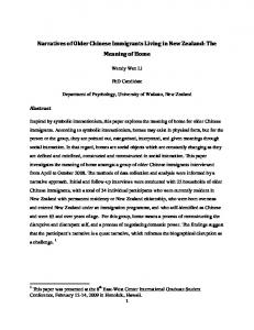 Narratives of Older Chinese Immigrants Living in New ...