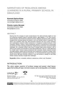NArrATIVES OF rESIlIENCE AMONg lEArNErS IN A ... - (SciELO) SA