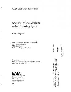 NASA's Online Machine Aided Indexing System - NTRS