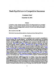 Nash Equilibrium in Competitive Insurance - SSRN