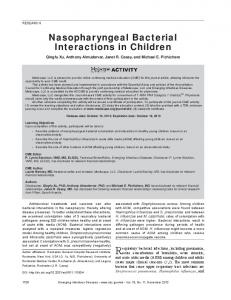 Nasopharyngeal Bacterial Interactions in Children - Centers for ...