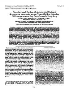 Nasopharyngeal Carriage of Antimicrobial-Resistant Streptococcus ...
