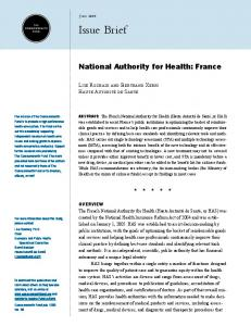 National Authority for Health: France - The Commonwealth Fund
