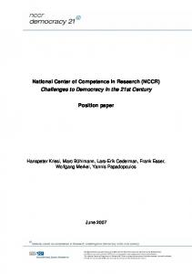 National Center of Competence in Research ... - NCCR Democracy