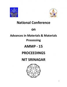 National Conference on AMMP - 15 PROCEEDINGS ...