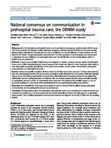 National consensus on communication in prehospital trauma care, the ...