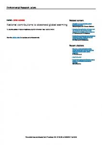National contributions to observed global warming - IOPscience