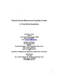 National Cultural Differences and Capability Transfer