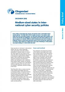 national cyber security policies - Clingendael