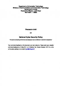 National Cyber Security Policy - MeitY