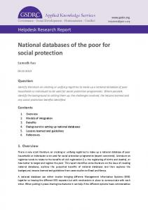 National databases of the poor for social protection - GSDRC