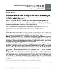 National Estimates of Exposure to Formaldehyde in Italian Workplaces