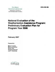 National Evaluation of the Weatherization Assistance Program ...