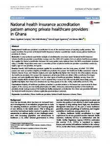National health insurance accreditation pattern among private ...