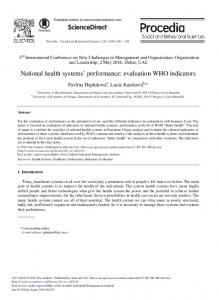 National Health Systems' Performance: Evaluation ... - Science Direct
