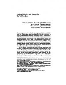 National Identity and Support for the Welfare State - POST - Queen's ...