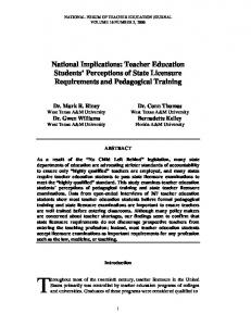 National Implications: Teacher Education Students' Perceptions of ...