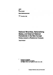 National Minorities, Nationalizing States, and External National ...