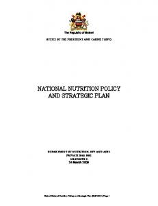 national nutrition policy and strategic plan - WHO/OMS: Extranet ...