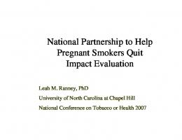 National Partnership to Help Pregnant Smokers Quit ...