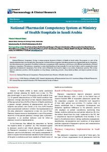 National Pharmacist Competency System at ... - Juniper Publishers