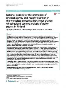 National policies for the promotion of physical ... - BMC Public Health