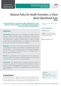 National Policy for Health Promotion - International Medical Publisher