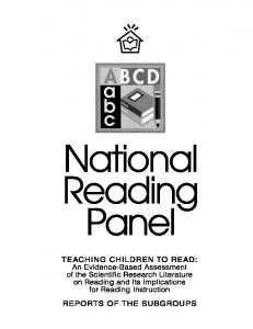 the national reading panel a short note The three summary reports from the national research council (1998), the international reading association (2007), and the national reading panel (national institute of child health and human development, 2000) have put forward summary descriptions of what excellent reading teachers know and can do.