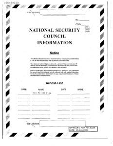 NATIONAL SECURITY COUNCIL INFORMATION Notice