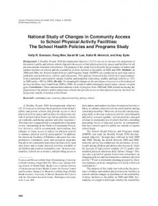 National Study of Changes in Community Access to School Physical ...