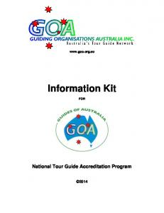 National Tour Guide Accreditation - GOA