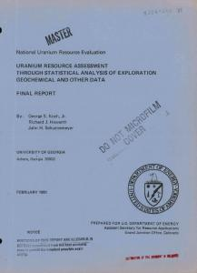 National Uranium Resource Evaluation URANIUM ...