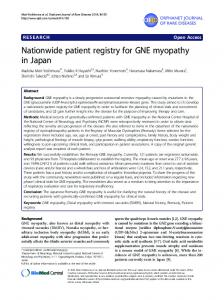Nationwide patient registry for GNE myopathy in Japan - BioMedSearch