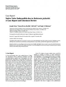 Native Valve Endocarditis due to Ralstonia pickettii: A Case Report ...
