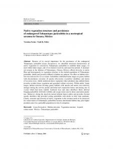 Native vegetation structure and persistence of ... - CiteSeerX
