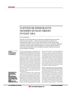 natives or immigrants: modern human origin in east asia