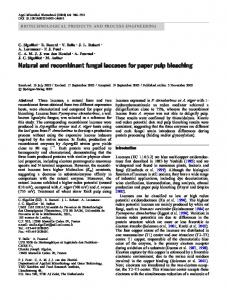 Natural and recombinant fungal laccases for paper ... - Springer Link